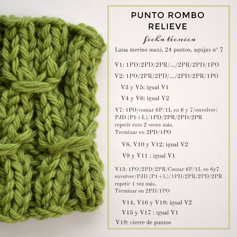 Cómo tejer Punto Rombos en relieve | Pearl Knitter
